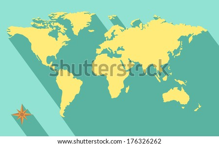 illustration of world map diagram in flat color - stock vector
