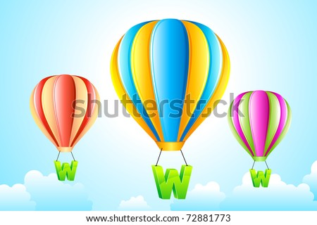 illustration of WWW hanging from hot air balloon in sky - stock vector