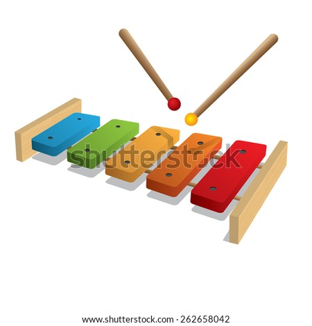 Illustration of xylophone on a white background - stock vector