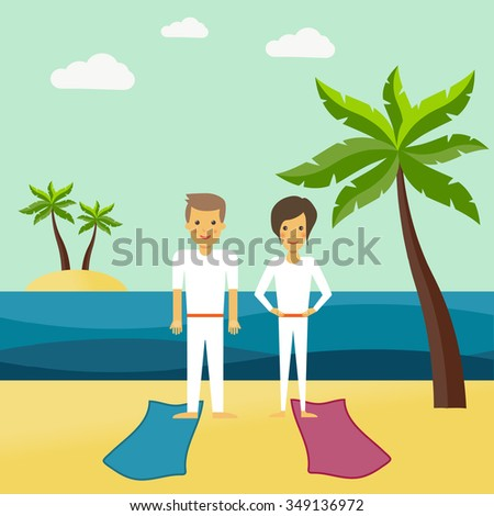 Illustration of yoga. A man and a woman meditating on the beach - stock vector
