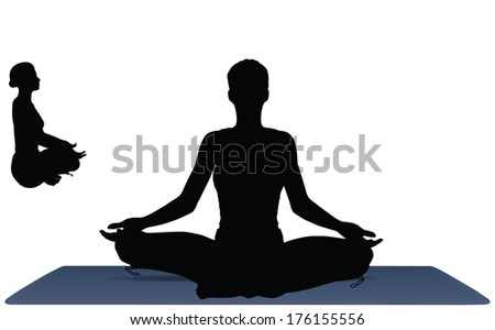 Illustration of Yoga pose on a yoga mat - stock vector