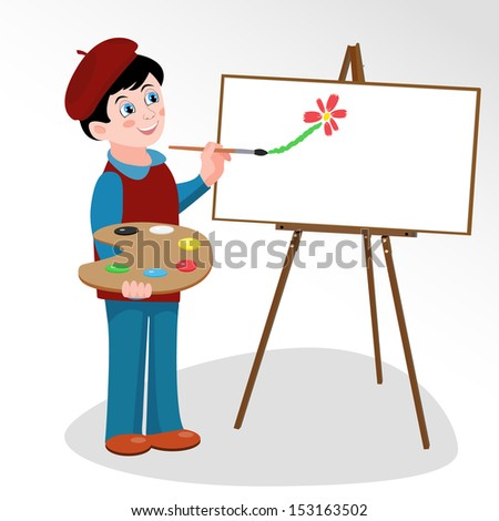 Illustration of young artist who paints with brush painting on easel