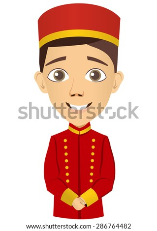Illustration of young bellhop waiting for the client  - stock vector