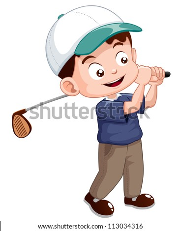 illustration of young golf player - stock vector