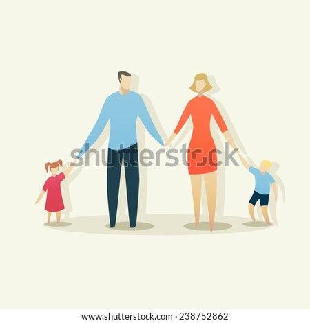 Illustration of young happy family with father, mother, boy and girl - stock vector