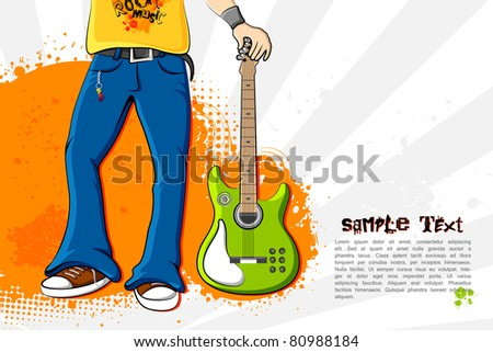 illustration of young man holding guitar on abstract background - stock vector