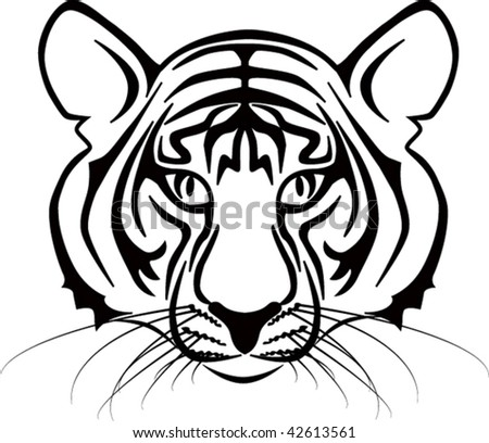 illustration of young siberian tiger in black lines symbol year - stock vector