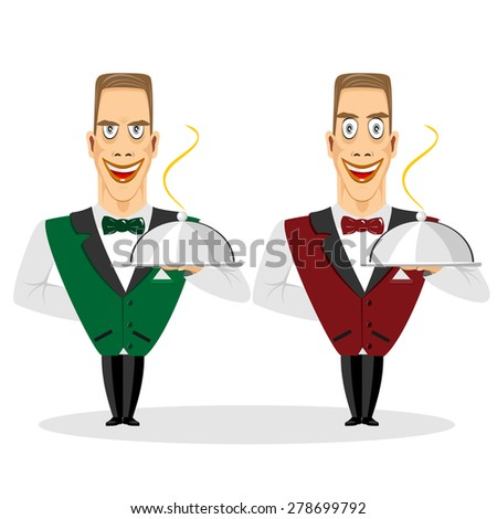 illustration of young smiling cartoon characters of waiter holding silver serving dome - stock vector