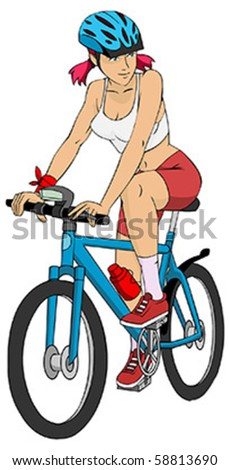 illustration of young sports woman on the bike isolated on white