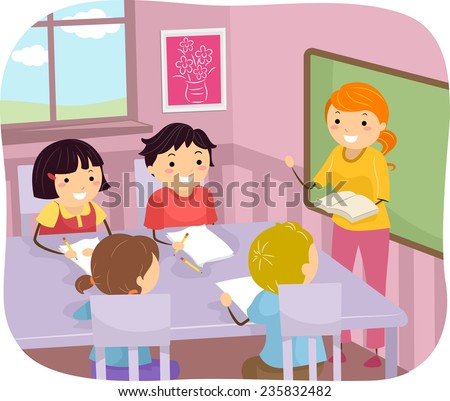 Illustration of Young Students Listening to Their Teacher - stock vector