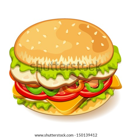 Illustration of yummy sandwich - stock vector