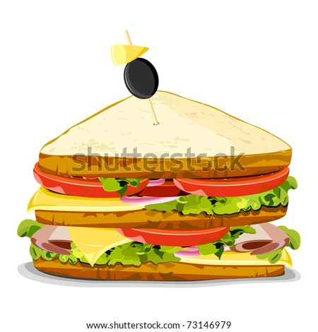 illustration of yummy sandwich on an isolated background - stock vector