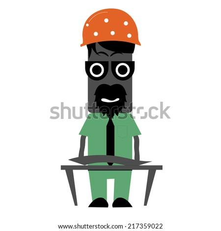 Illustration of zombie engineer - stock vector