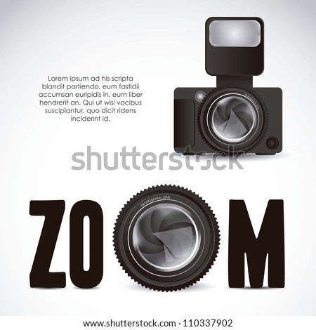 Illustration of zoom lens camera and professional camera isolated on white background, vector illustration - stock vector