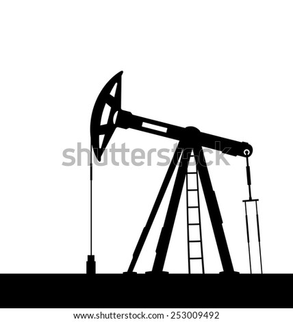Illustration oil pump jack for petroleum isolated on white background - vector - stock vector