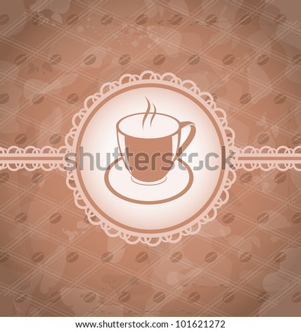 Illustration old grunge background with coffee label - cup, coffee bean's texture - vector - stock vector
