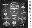 Illustration on a blackboard. Hipster style Set of hipster vintage retro labels. Logo set.
