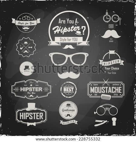 Illustration on a blackboard. Hipster style Set of hipster vintage retro labels. Logo set. - stock vector