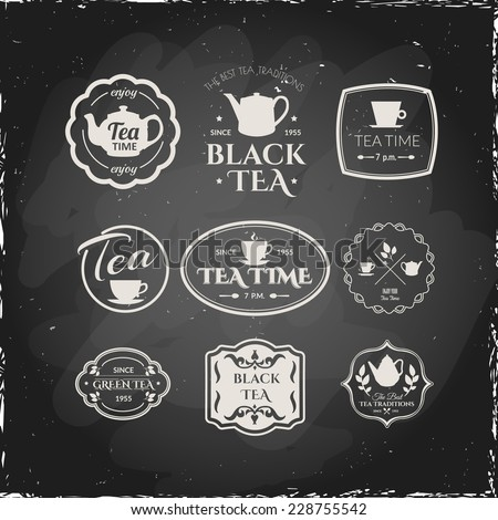 Illustration on a blackboard. Set of labels on theme tea. Tradition of tea time. - stock vector