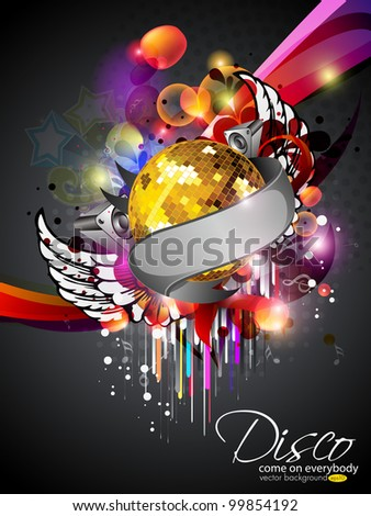 Illustration on a musical theme colorful lights abstract background  with speaker, wings and  mirror ball.EPS 10, can be use as banner, flyer or poster for disco party and other events.