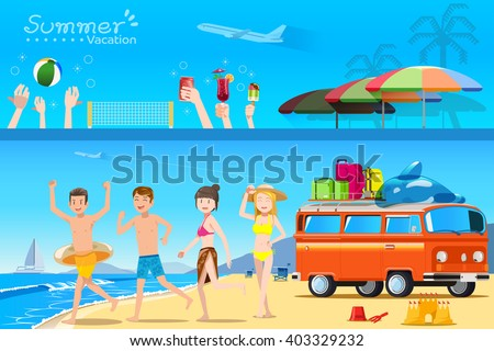 Illustration on the activities on the  beach.Tourism on the beach.Summer holidays.Travel by a car.Illustrated books and websites about travel to the sea.Teenage on the Beaches.Graphic and EPS 10. - stock vector