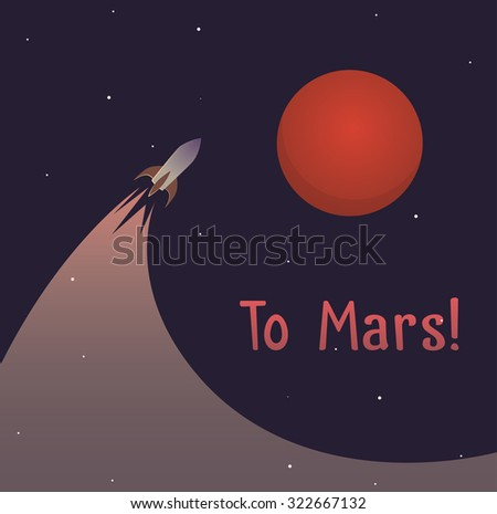 Illustration on theme of colonization of planet Mars mission - stock vector
