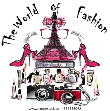 Illustration or poster with vector Eiffel tower shoes lipsticks perfumes and cameras the world of fashion - stock vector