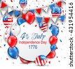 Illustration Party Background with Traditional American Colors with Greeting Card, Colorful Bunting, Balloons and Confetti. Independence Day 4th July - Vector - stock vector