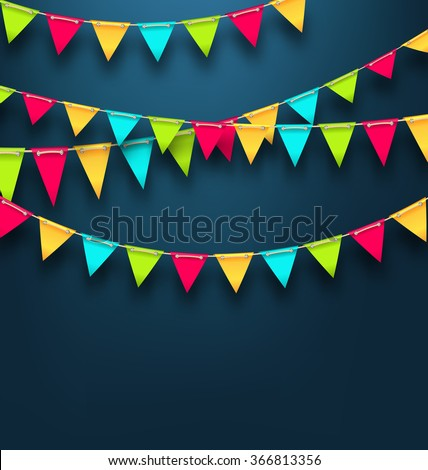 Illustration Party Dark Background with Bunting Flags for Holidays. Template for Poster, Signage, Postcard - Vector - stock vector