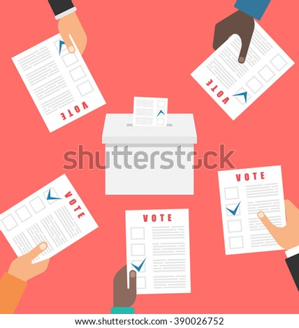 Illustration People Holding Ballot Papers and Putting Them into Ballot Box. Election and Voting Elements in Flat Style - Vector - stock vector