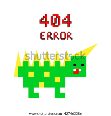 Illustration pixel art 8 bit for website page not found 404 error and colorful dinosaur isolated on white background / vector eps 10 - stock vector