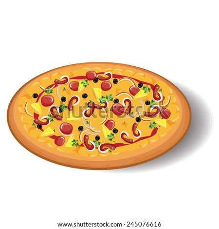 illustration,pizza on white