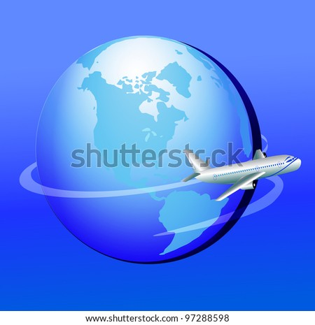 illustration plane flies around globe in journey - stock vector