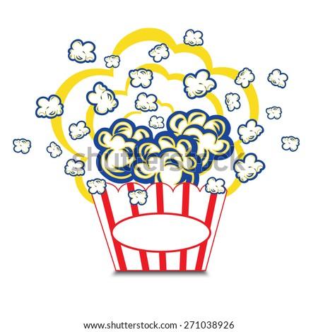 Illustration Popcorn in striped bucket on white background boom - stock vector