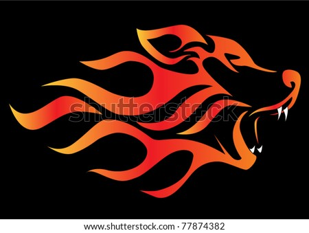 illustration profile wolf on black aflame - stock vector