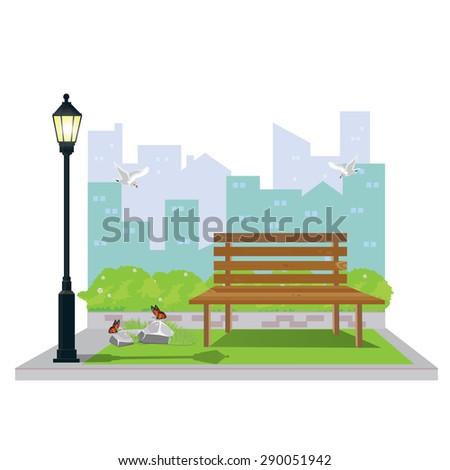 illustration.Public Park in The City. - stock vector