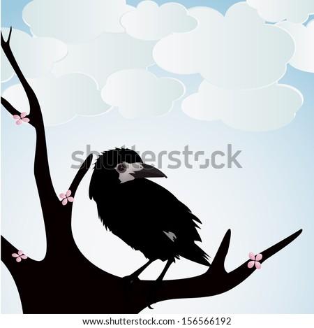 Illustration ravens on white background - stock vector