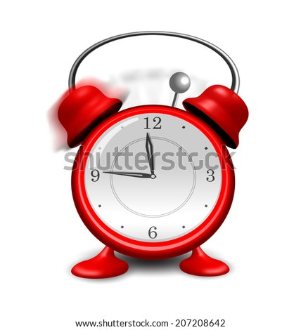 Illustration red alarm clock close up, isolated on white background - vector - stock vector
