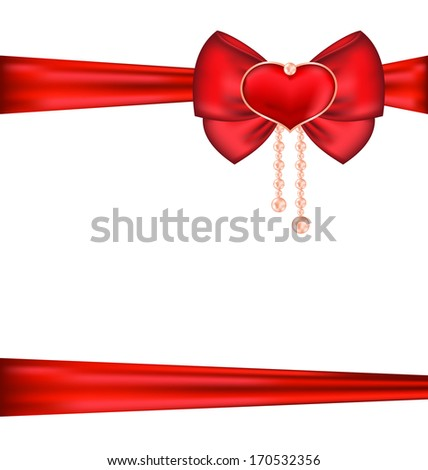Illustration red bow with heart and pearls for packing gift Valentine Day - vector - stock vector