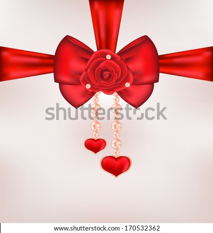Illustration red bow with rose, heart, pearls for card Valentine Day - vector - stock vector
