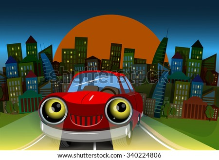 Illustration red car on the road into town - stock vector