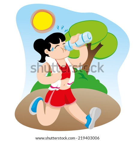 Illustration representing a woman exercising while hydrating drinking water.  - stock vector