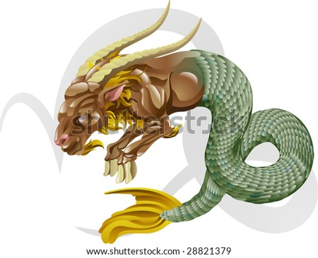 Illustration representing Capricorn the sea goat star or birth sign. Includes the symbol or icon in the background - stock vector