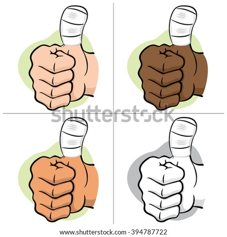 Illustration representing hand of a person with bandaged thumb, ethnic. Ideal for informational and institutional material