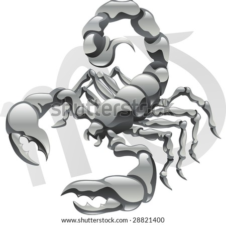 Illustration representing Scorpio the scorpion star or birth sign. Includes the symbol or icon in the background - stock vector