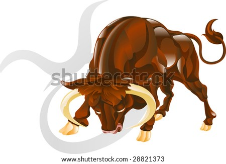 Illustration representing Taurus the bull star or birth sign. Includes the symbol or icon in the background - stock vector