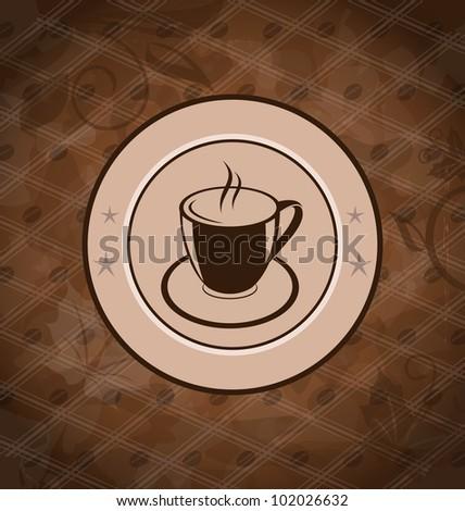 Illustration retro background with coffee mug, coffee bean texture - vector - stock vector