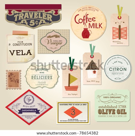 Illustration Retro Label, Bookmarks, Tags for Stickers - Vector Illustration - stock vector