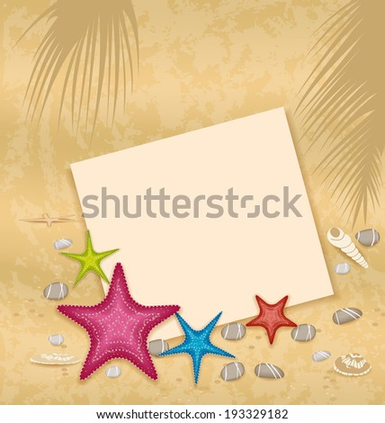Illustration sand background with paper card, starfishes, pebble stones, seashells - vector