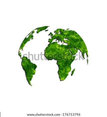 Illustration save the green Earth, environmental symbol - vector - stock vector